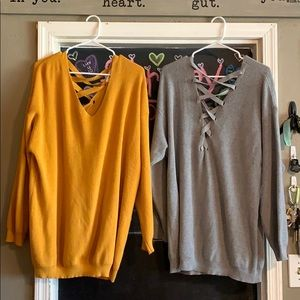 Thin, tunic length sweaters